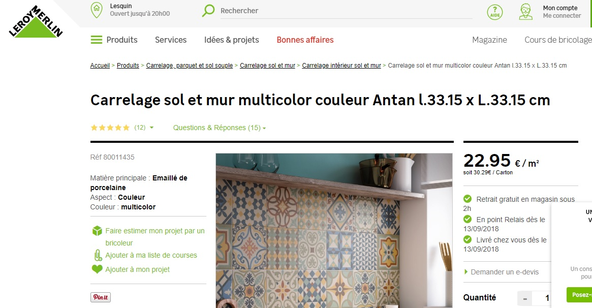 Photo don objet -Carrelage + colle + joint