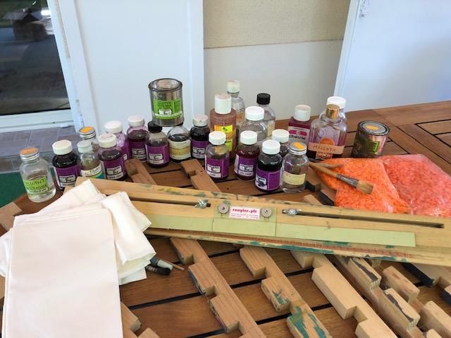 Photo don Matériel peinture sur soie